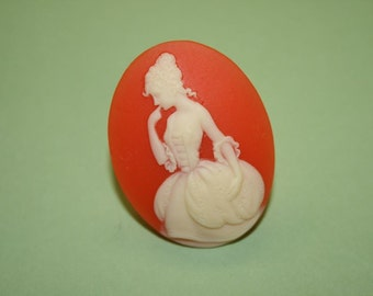 Large Red Elegant Lady Cameo Ring