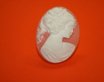 Large Light Pink Victorian Lady Cameo Ring