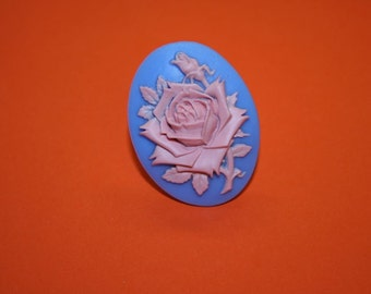 Large Blue and Pink Rose Cameo Ring