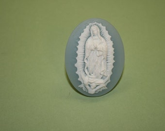 Large Light Blue Mother Mary Cameo Ring