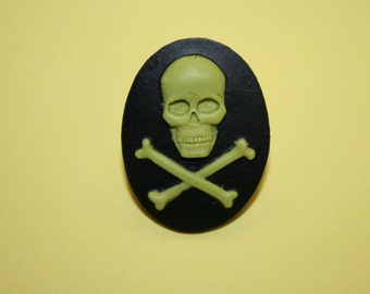 SALE Large Moss Green Skull and Crossbones Cameo Ring