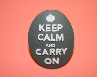 SALE Large Grey Keep Calm and Carry On Cameo Ring