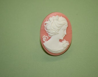 Large Pink Flower Lady Cameo Ring