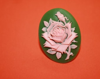 SALE Large Pink & Green Rose Cameo Ring