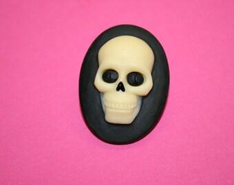 Large Black Skull Face Cameo Brooch
