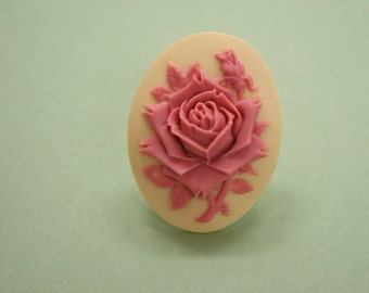 Large Pink and Cream Rose Cameo Ring
