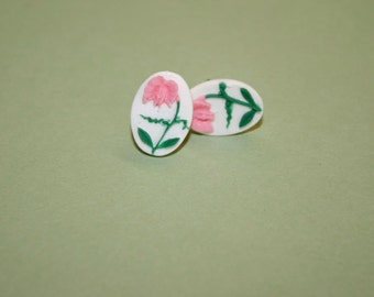 Small Pink Drooping Flower Cameo Earrings