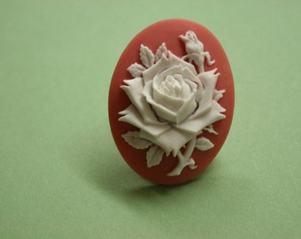 Large Cranberry Rose Cameo Ring