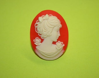 Large Red Flower Lady Cameo Ring