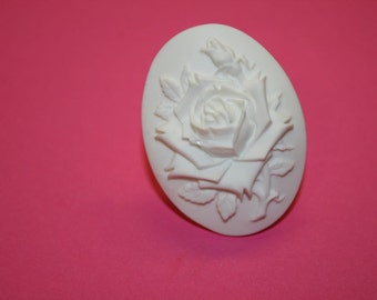 Large White Rose Cameo Ring