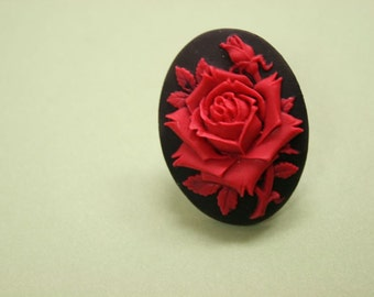 Large Red Rose Cameo Ring