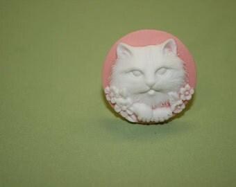 Medium Light Pink Kitty Cat Cameo Ring