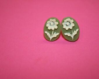 Tiny Sage Green Daisy Cameo Earrings