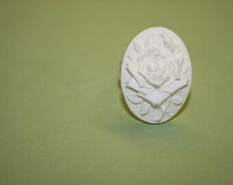 SALE Medium White Rose Cameo Ring