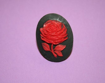 Large Red Flower Cameo Ring