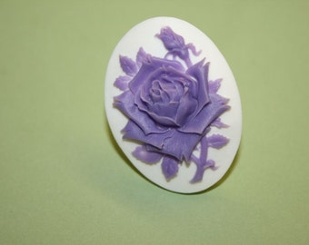 Large Lavender Rose Cameo Ring