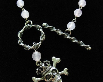 Rose Queen - Rose Quartz with Pewter Crowned Skull necklace