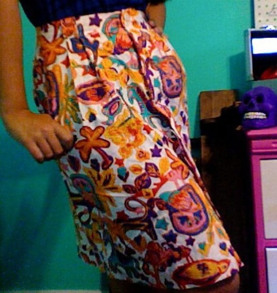SALE Animal Skirt with Pockets Colorful Squiggle Art S/M