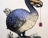 linocut relief print Dodo with a Yoyo with silkscreen colour