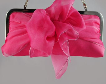 SALE Pink Peony Silk Clutch with Bow