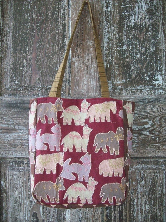 COUPON CODE SALE Over The Shoulder Bag Upcycled Vintage Hand embroidered fabric with animal appliques one of a kind