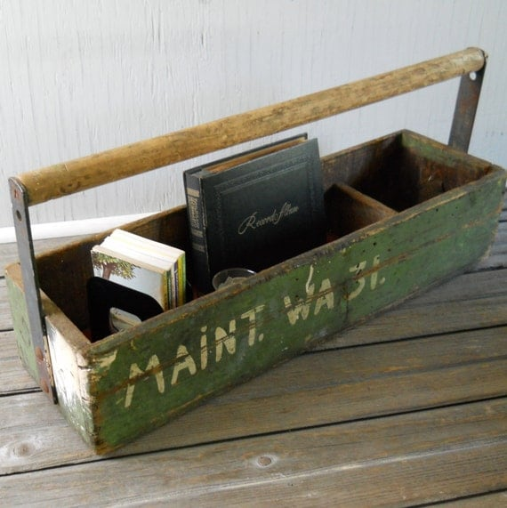 Tool Box Primitive Wood Vintage Tool Box Workman's Large Green