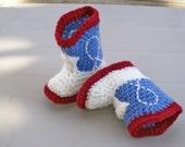 Cowboy Baby Booties  Burgundy & Faded Denim Crochet Western Booties  Baby Shoes