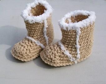 Baby Snow Booties  Beige Crochet Baby Boots