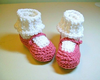 Crochet Baby Booties  Raspberry MaryJane Booties Baby Shoes Slippers