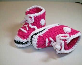 Baby Booties Crochet Super Pink  Hi-top Sneaker Booties Converse Style Basketball Baby Shoes