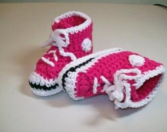 Crochet Baby Booties  Hot  Pink  Hi top Sneakers Baby  Photo Prop