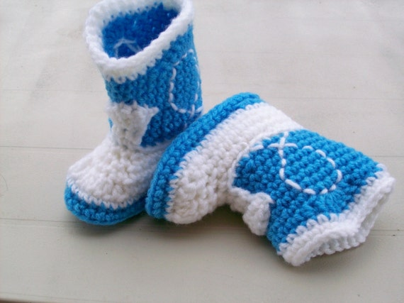 CLEARANCE Baby Booties Turquoise & White Crochet Western Cowboy Boots 6-12 months Baby Shoes Slippers