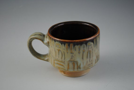 Porcelain Coffee Mug With Checkered Pattern, Shades of Green, Gold, and Brown