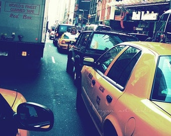 New York City photography, travel photograph, blue urban yellow taxi cabs Manhattan street traffic NYC large wall decor