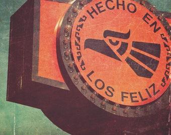 photography, hecho en Los Feliz, Los Angeles photograph California neighborhood spanish sign orange green, industrial, for him, loft decor