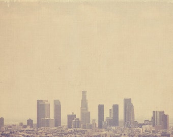 photography, Los Angeles photograph, Southland, downtown skyline California, cold urban cityscape winter grey buildings, LA, unisex