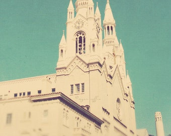 photo of Saints Peter and Paul church, San Francisco print, Coit tower, blue teal cream decor, architecture print, Marilyn & Joe, California