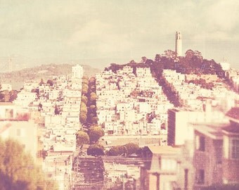 San Francisco photography, Coit Tower photograph, cityscape, California home decor, Such highs and lows, pale neutral