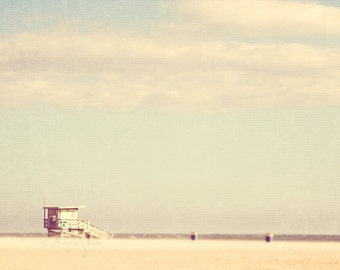 summer beach photography, nursery art Santa Monica CA photograph, lifeguard stand retro minimalist blue sky pale yellow, vacation LA print