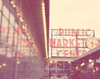 Seattle photography, Pike Place Market, Elliott Bay, photo of downtown Seattle Washington, travel landmark, bokeh, red retro sign