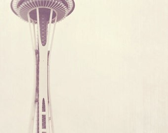 Seattle photography, Space Needle photograph, Sleepless, large wall art minimalist decor, neutral pale white winter gray, PNW travel
