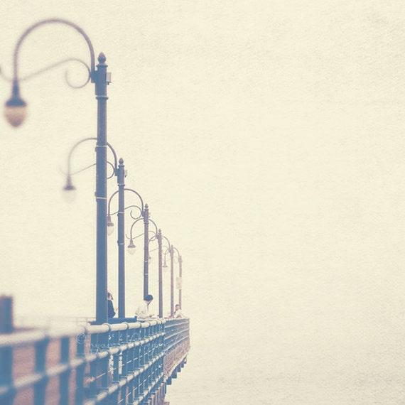 beach photography, boardwalk photo, Santa Monica, meet me at the pier, California, romantic iron lamppost ocean cream ivory beige