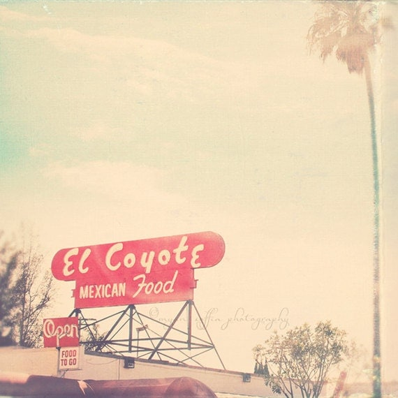 Los Angeles photo. El Coyote red mexican food sign, retro diner, celebrity history, photograph of Hollywood landmark, palm tree, art