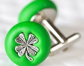 Lucky Irish Shamrock Cufflinks in Grass Green Polymer Clay Groomsmen Gift in St. Patrick's Day Weddings or Father's Day