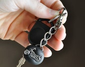 Motorcycle Key Chain Men or Women Unisex with Swivel Hook for Father's Day in Black Polymer Clay Gift Idea