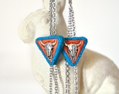 Southwestern Tribal Triangle Earrings Fall Fashion Cascading Stainless Steel Chain Geometric Turquoise Bronze Polymer Clay Earthy Bohemian