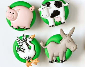 Farm Magnets Gift Set of 4 Pig, Donkey, Goose and Cow in Grass Green Polymer Clay for Spring Kid's Room Decoration
