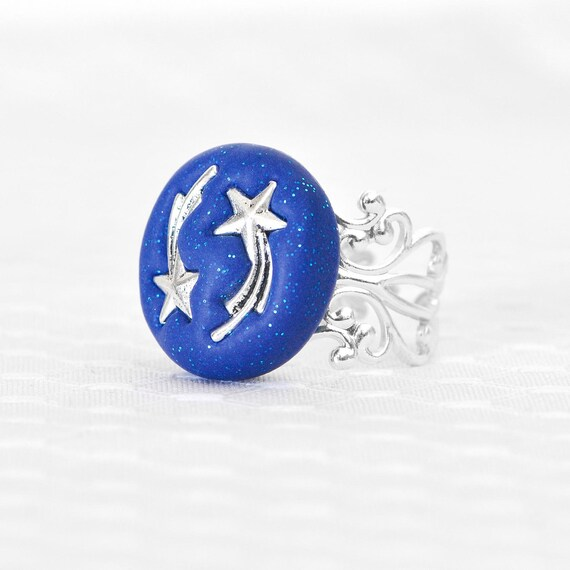 Shooting Stars Space Galaxy Ring Celestial Jewelry in Sapphire Blue Glitter Polymer Clay with Adjustable Silver Filigree Ring Base