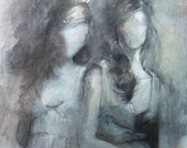 The Two Girls - Gray and Silver Painting - Open Edition Print