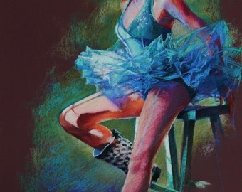 "Pastel Drawing of Ballerina in Blue - Large Fine Art Reproduction - ""Tutu and Boots"""